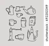 set of tableware for tea and... | Shutterstock .eps vector #692202349