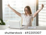 excited smiling businesswoman... | Shutterstock . vector #692205307