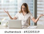 indignant stressed... | Shutterstock . vector #692205319