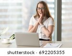 Happy Businesswoman Laughing...