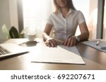 bank worker offering to read... | Shutterstock . vector #692207671