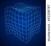 wireframe mesh noise box....   Shutterstock .eps vector #692208787