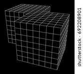 wireframe mesh doubled box.... | Shutterstock .eps vector #692208901