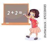sweet little girl decides on... | Shutterstock .eps vector #692228485