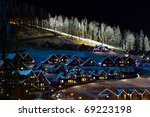 Winter Snow Covered Houses In...