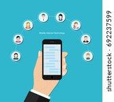 mobile internet social vector...   Shutterstock .eps vector #692237599