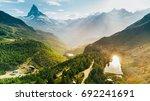 matterhorn mountain with white... | Shutterstock . vector #692241691