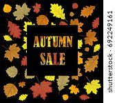 sales banner with autumn leaves.... | Shutterstock . vector #692249161