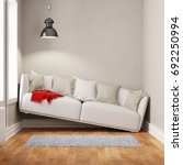 sofa squeezed in too small... | Shutterstock . vector #692250994