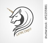 vector logo with unicorn head... | Shutterstock .eps vector #692255881