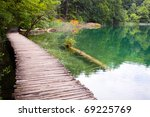 Wooden Path Over Plitvice Lake...