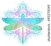 ornate dragonfly over colorful... | Shutterstock .eps vector #692273245