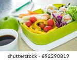 close up green lunch box on... | Shutterstock . vector #692290819