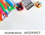 school supplies frame on a... | Shutterstock . vector #692293927