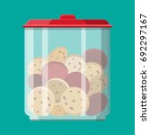 glass jar with choclate cookies ... | Shutterstock .eps vector #692297167