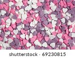 photo shot of colorful hearts background - stock photo