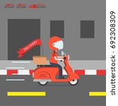 delivery ride motorcycle...   Shutterstock .eps vector #692308309