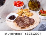 marble beef with potatoes ... | Shutterstock . vector #692312074