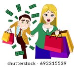 happy couple on a shopping with ... | Shutterstock .eps vector #692315539