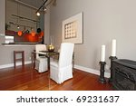 Dining room in Large loft studio - stock photo