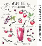 hand drawn smoothie jar with... | Shutterstock .eps vector #692316529