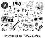 hand drawn sketch set of music... | Shutterstock .eps vector #692316961