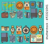 vector doodle set with travel... | Shutterstock .eps vector #692321041
