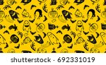 haloween seamless pattern in... | Shutterstock .eps vector #692331019