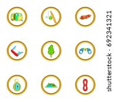 camping icons set. cartoon set... | Shutterstock .eps vector #692341321