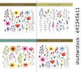 floral watercolor collection... | Shutterstock .eps vector #692345611