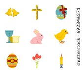 happy easter icon set. flat... | Shutterstock .eps vector #692346271