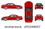 red sports car vector mock up... | Shutterstock .eps vector #692348047