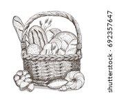 bread basket sketch. hand drawn ... | Shutterstock . vector #692357647