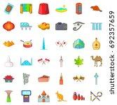 landmark icons set. cartoon... | Shutterstock .eps vector #692357659
