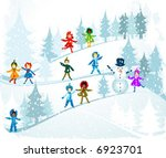 children playing in a winter...   Shutterstock .eps vector #6923701