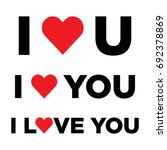 vector set of i love you with... | Shutterstock .eps vector #692378869