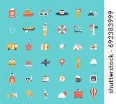 travel icons set flat design | Shutterstock .eps vector #692383999