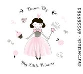 cute little princess girl ... | Shutterstock .eps vector #692389981