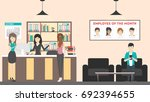 reception at office. visitors... | Shutterstock . vector #692394655