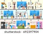 furniture store interior.... | Shutterstock . vector #692397904