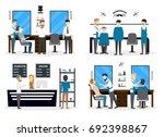 barbershop salon inside....   Shutterstock . vector #692398867