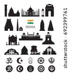india objects icons silhouette  ... | Shutterstock .eps vector #692399761