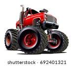 vector cartoon monster truck... | Shutterstock .eps vector #692401321