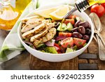 grilled chicken and fresh... | Shutterstock . vector #692402359