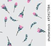 exotic flowers pattern | Shutterstock .eps vector #692417584
