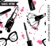 seamless makeup cosmetics... | Shutterstock .eps vector #692428159
