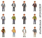 set of men in fashion clothes... | Shutterstock . vector #692432839