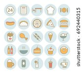 set of 25 fast food outline... | Shutterstock .eps vector #692440315