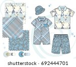 boys' fashion illustration with ... | Shutterstock .eps vector #692444701