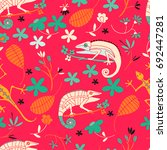 seamless pattern of tropical... | Shutterstock .eps vector #692447281